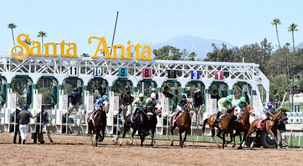PHOTO: The first race of the day during horse racing at Santa Anita Park, March 29, 2018, in Arcadia, Calif. (Keith Birmingham/MediaNews Group/Pasadena Star-News via Getty Images)