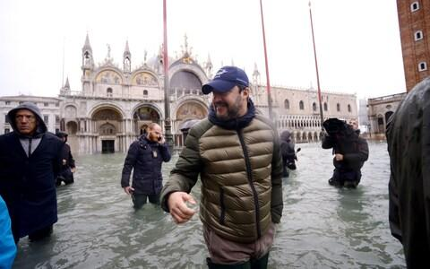 Matteo Salvini, seen here visiting flooded Venice, hopes to take Emilia-Romagna from the centre-Left - Credit: Filippo Monteforte/AFP