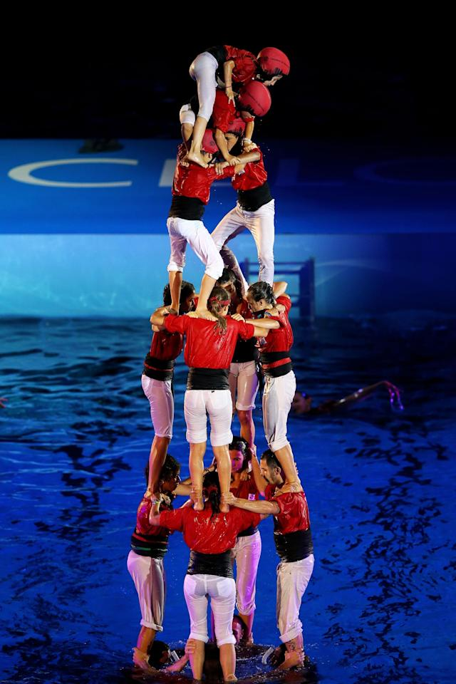 BARCELONA, SPAIN - JULY 19: A castell is built during the Opening Ceremony of the 15th FINA World Championships at Palau Sant Jordi on July 19, 2013 in Barcelona, Spain. (Photo by Al Bello/Getty Images)