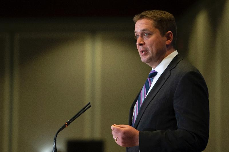"""Canada's Conservative leader Andrew Scheer (pictured May 2019) said the country could create more jobs through """"technological growth while at the same time lowering global emissions"""""""