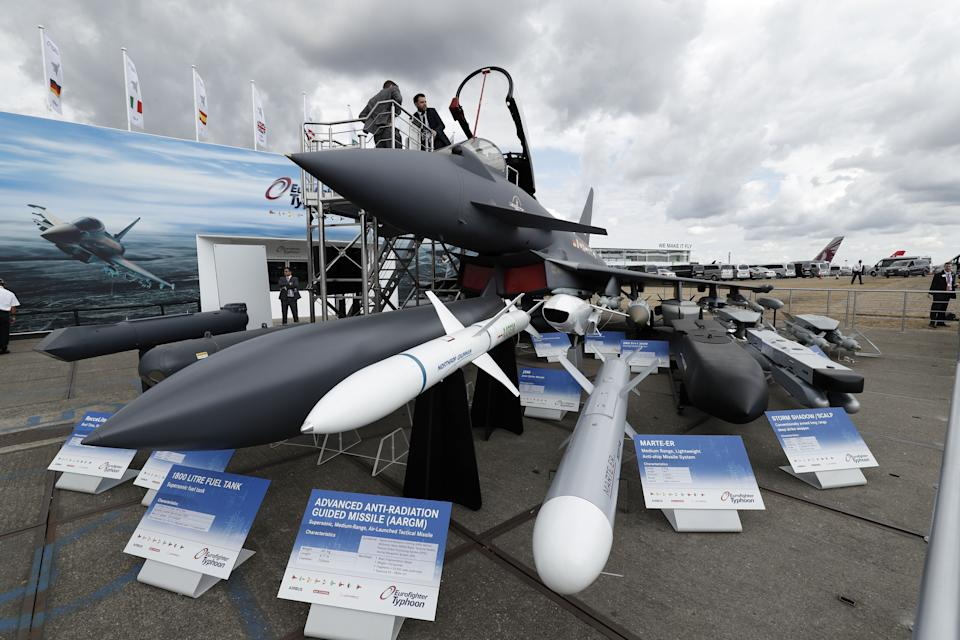 <p>BAE Systems exhibits a Eurofighter Typhoon aircraft at the 2018 Farnborough Airshow, southwest of London</p> (AFP/Getty)