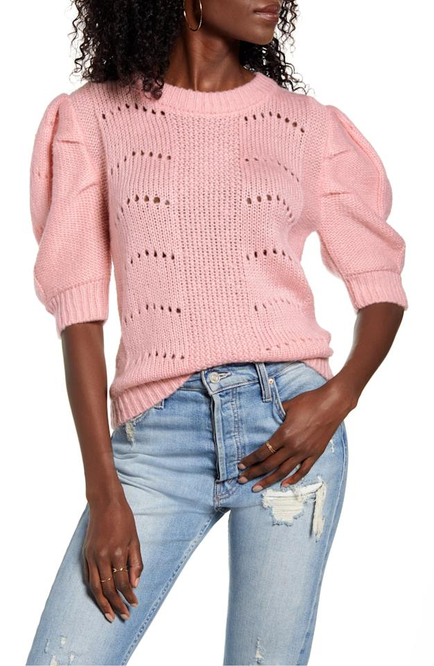 """<p>This <a href=""""https://www.popsugar.com/buy/English-Factory-Puff-Sleeve-Sweater-538665?p_name=English%20Factory%20Puff%20Sleeve%20Sweater&retailer=shop.nordstrom.com&pid=538665&price=70&evar1=fab%3Aus&evar9=47089187&evar98=https%3A%2F%2Fwww.popsugar.com%2Fphoto-gallery%2F47089187%2Fimage%2F47089465%2FEnglish-Factory-Puff-Sleeve-Sweater&list1=shopping%2Cnordstrom%2Cwinter%20fashion&prop13=api&pdata=1"""" rel=""""nofollow"""" data-shoppable-link=""""1"""" target=""""_blank"""" class=""""ga-track"""" data-ga-category=""""Related"""" data-ga-label=""""https://shop.nordstrom.com/s/english-factory-puff-sleeve-sweater/5500771/full?origin=category-personalizedsort&amp;breadcrumb=Home%2FWomen%2FNew%20Arrivals&amp;color=pink"""" data-ga-action=""""In-Line Links"""">English Factory Puff Sleeve Sweater</a> ($70) is the perfect fresh piece for Winter and Spring.</p>"""