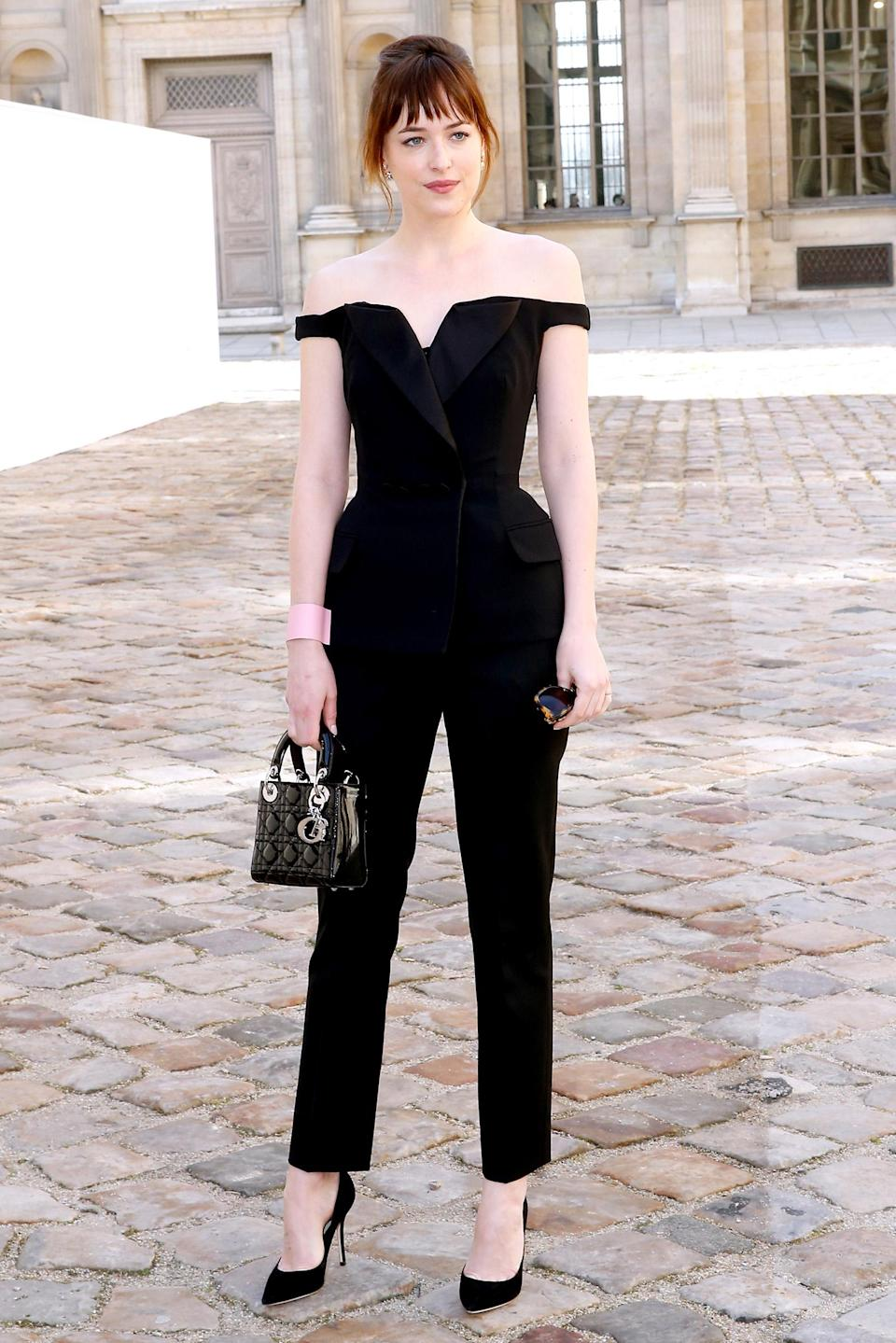 <p>The actress wore this elegant jumpsuit at the Christian Dior show during Paris Fashion Week. (Photo: Rindoff/Dufour/Getty Images) </p>