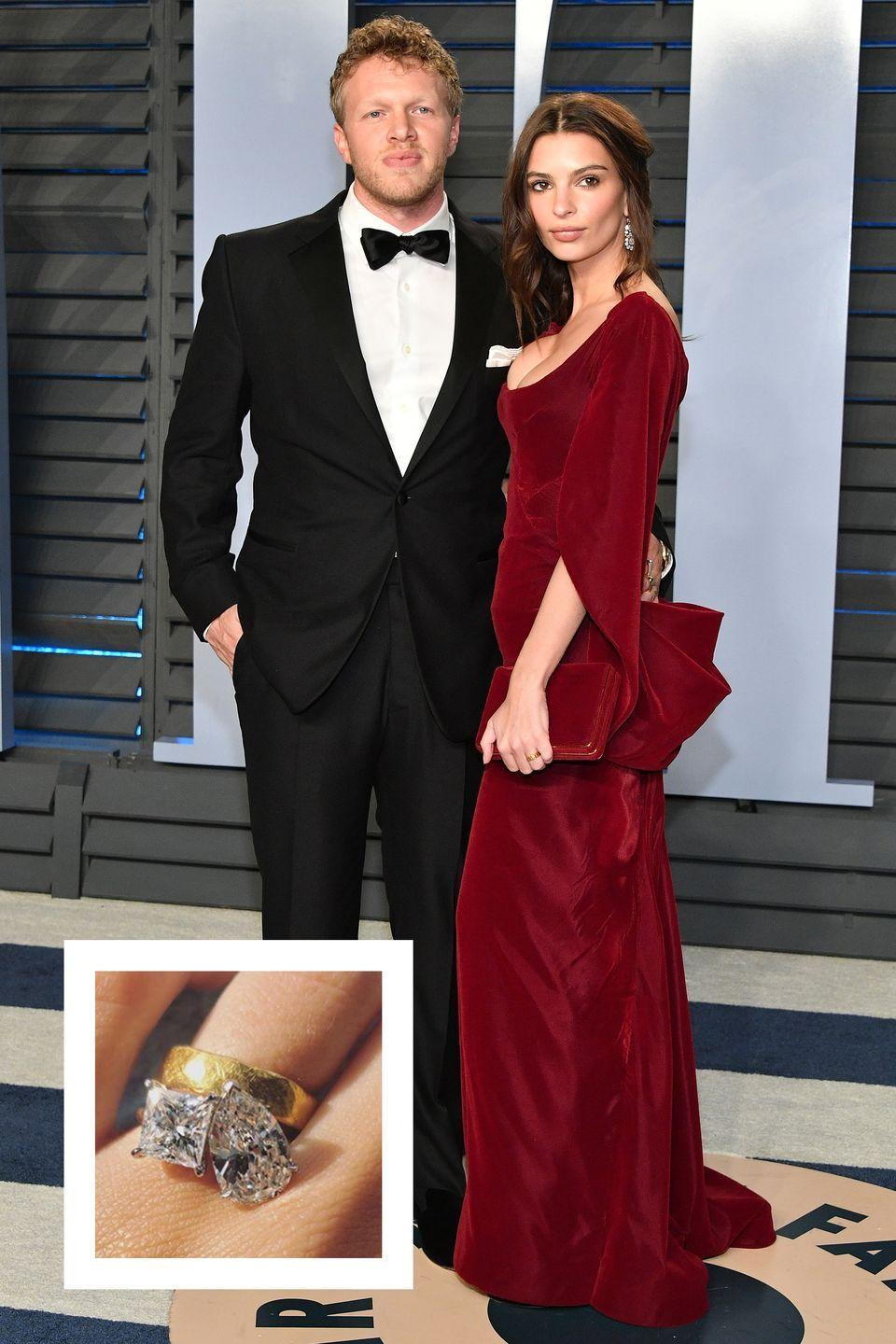 """<p>Months after her surprise wedding to Sebastian Bear-McClard, the model showed off her <a href=""""https://www.instagram.com/p/BlHSi5yltVP/?taken-by=emrata"""" rel=""""nofollow noopener"""" target=""""_blank"""" data-ylk=""""slk:gorgeous engagement ring on Instagram."""" class=""""link rapid-noclick-resp"""">gorgeous engagement ring on Instagram. </a>The unique design appears to be a two-carat princess cut diamond next to a three-carat pear shaped diamond, according to Kathryn Money of Brilliant Earth. The ring cost approximately between $50,000 and $90,000, <a href=""""https://pagesix.com/2018/07/12/emily-ratajkowski-debuts-massive-engagement-ring/"""" rel=""""nofollow noopener"""" target=""""_blank"""" data-ylk=""""slk:Page Six reports."""" class=""""link rapid-noclick-resp""""><em>Page Six </em>reports.</a></p>"""