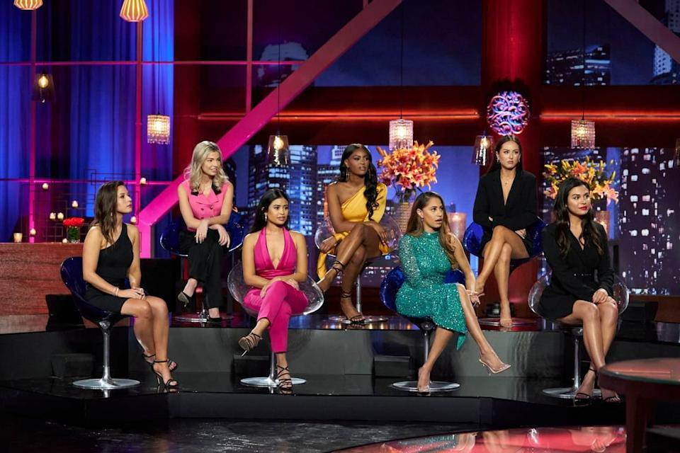 "From Matt James' Season 25 ""Bachelor: Women Tell All"" special airing March 1, 2021, on ABC (L-R): Katie, Kit, Jessenia, Khaylah, Ryan, Abigail and Brittany."