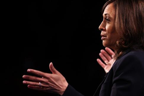 Senator Kamala Harris, Democratic vice-presidential nominee, speaks during the debate at the University of Utah in Salt Lake City, Utah. Photo: Getty Images/Bloomberg