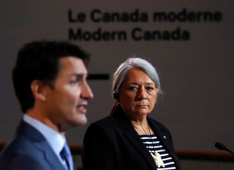 Canada's Prime Minister Justin Trudeau attends a news conference with Mary Simon to announce her as the next Governor General of Canada