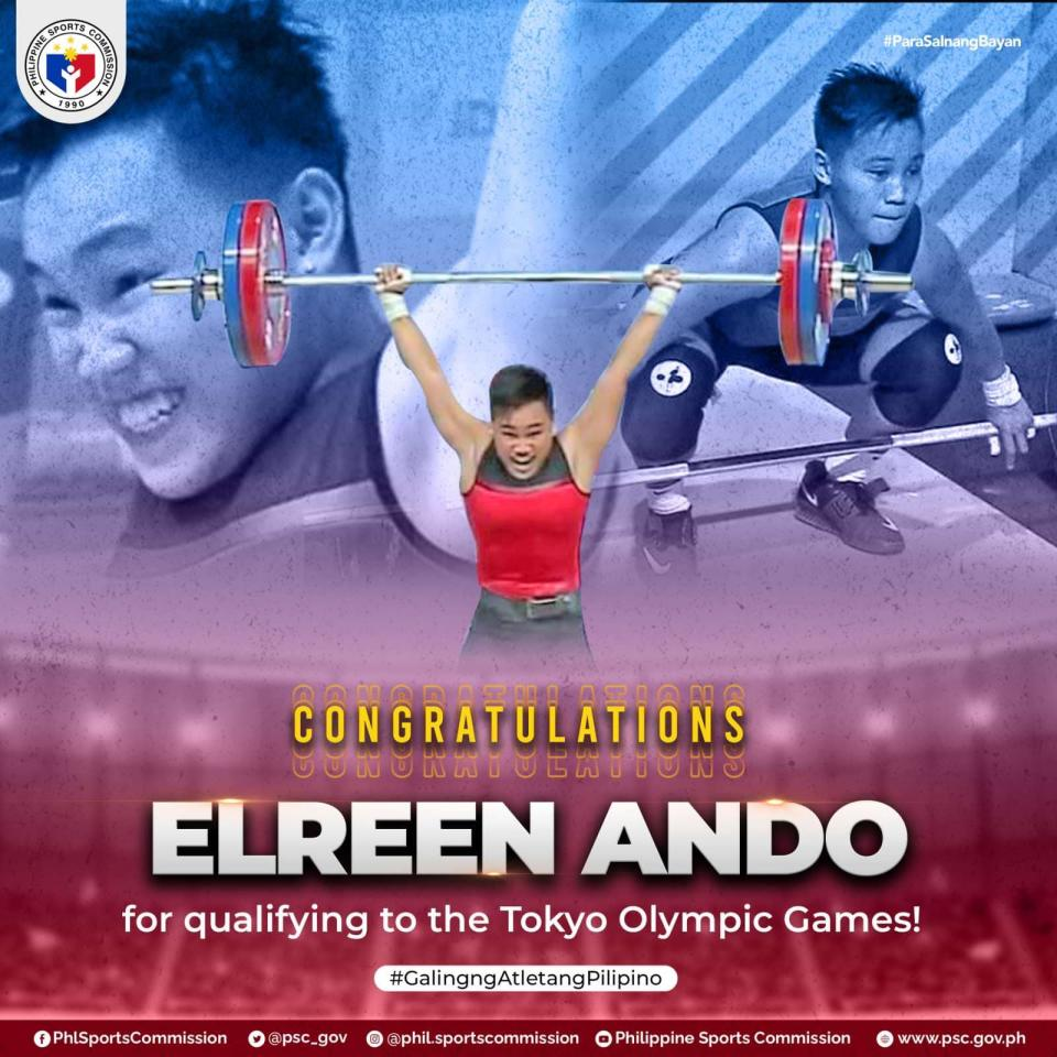 Filipino weightlifter Elreen Ando. (Photo: Philippine Sports Commission/Facebook)