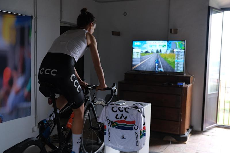 Ashleigh Moolman-Pasio (CCC-Liv) training indoors at Rocacorba Cycling in Spain