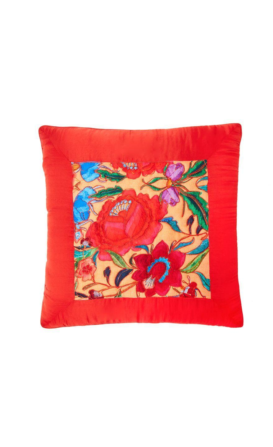 """<p>The Somerset-based designer has translated her signature prints and brightly hued patterns into a range of embroidered homeware, such as this cheery floral embroidered cushion. KP</p><p>£145, <a href=""""https://www.temperleylondon.com/lotus-print-embroidered-cushion-coral-mix.html"""" rel=""""nofollow noopener"""" target=""""_blank"""" data-ylk=""""slk:Alice Temperley Homeware"""" class=""""link rapid-noclick-resp"""">Alice Temperley Homeware</a></p>"""
