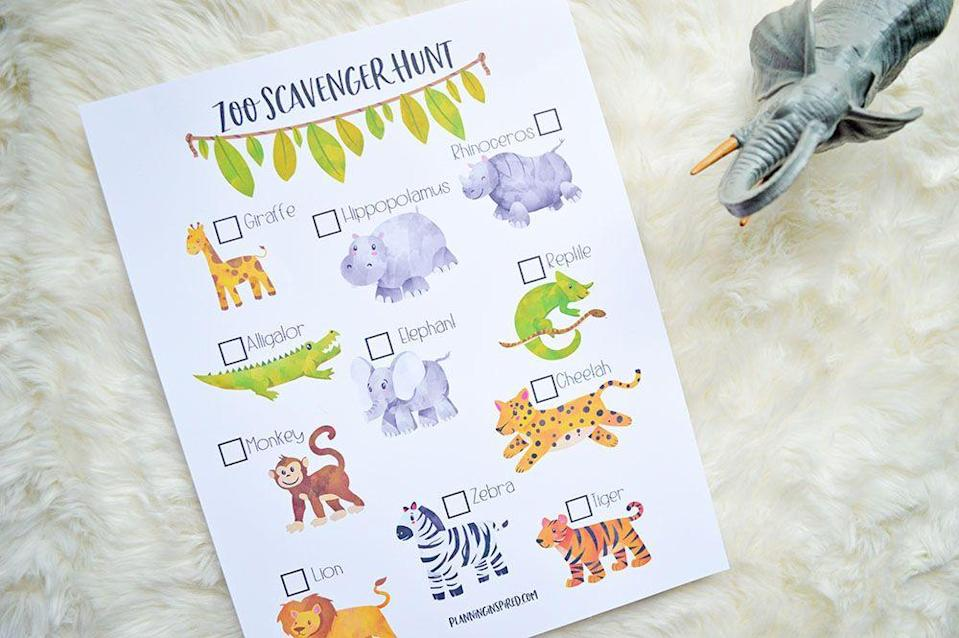 "<p>Lions, and tigers, and … monkeys, oh my! Kids will get the chance to up their animal-spotting skills while at the zoo, thanks to this zoo-themed scavenger hunt, complete with adorably-designed wildlife.</p><p><em><a href=""https://www.planninginspired.com/activities-for-kids/zoo-scavenger-hunt-printable/"" rel=""nofollow noopener"" target=""_blank"" data-ylk=""slk:See more at Sarah White »"" class=""link rapid-noclick-resp"">See more at Sarah White »</a></em></p>"