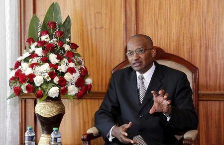 Kenya Central Bank Governor Patrick Njoroge speaks during an interview with Reuters in his office in the capital Nairobi