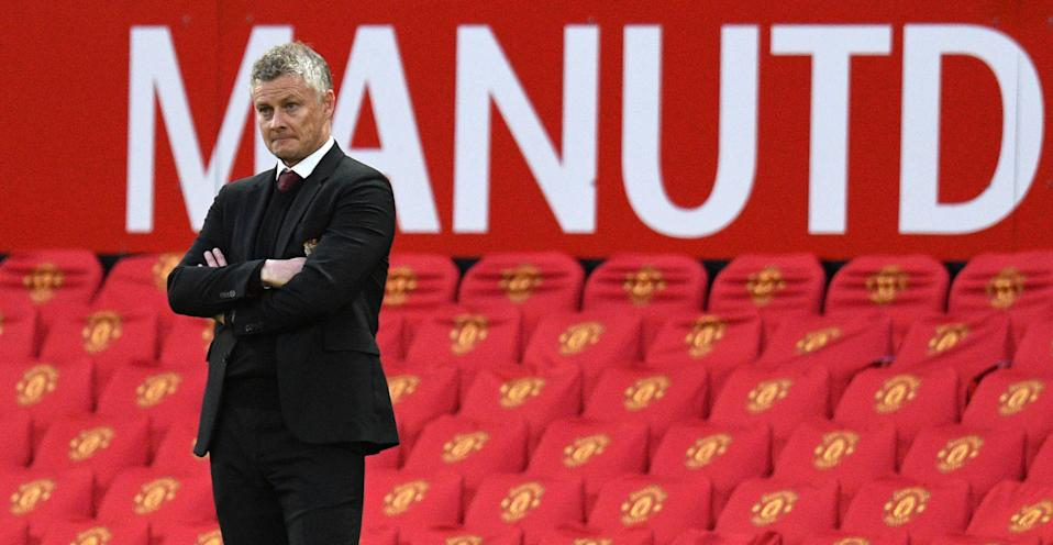 Manchester United's Norwegian manager Ole Gunnar Solskjaer looks on from the sidelines during the English Premier League football match between Manchester United and Tottenham Hotspur at Old Trafford in Manchester, north west England, on October 4, 2020. - Tottenham won the game 6-1. (Photo by Oli SCARFF / AFP) / RESTRICTED TO EDITORIAL USE. No use with unauthorized audio, video, data, fixture lists, club/league logos or 'live' services. Online in-match use limited to 120 images. An additional 40 images may be used in extra time. No video emulation. Social media in-match use limited to 120 images. An additional 40 images may be used in extra time. No use in betting publications, games or single club/league/player publications. / (Photo by OLI SCARFF/AFP via Getty Images)