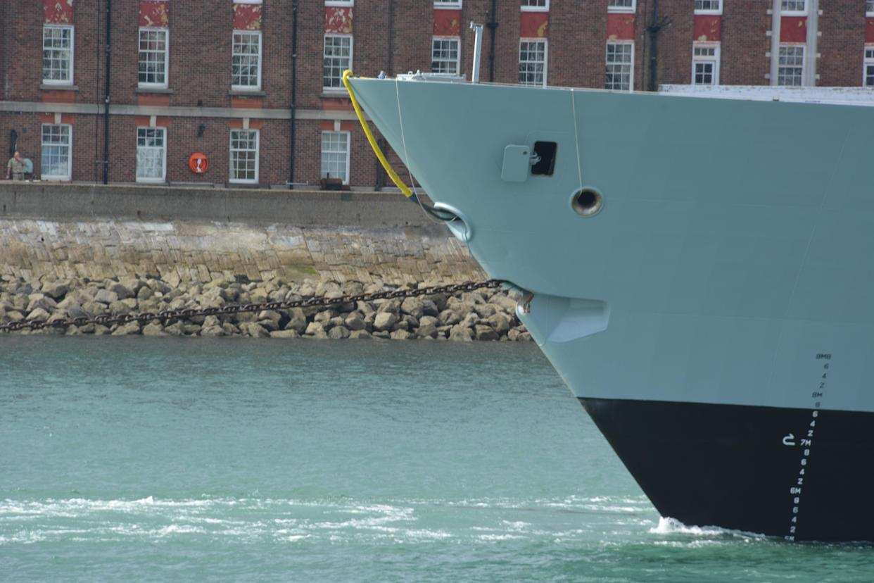 HMS Daring under tow from Portsmouth Naval Base (Ben Mitchell/PA)