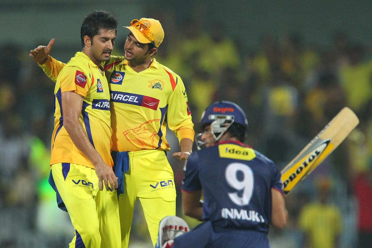 Mohit Sharma and Suresh Raina celebrate the wicket of Unmukt Chand during match 64 of the Pepsi Indian Premier League between The Chennai Superkings and the Delhi Daredevils held at the MA Chidambaram Stadium in Chennai on the 14th May 2013..Photo by Ron Gaunt-IPL-SPORTZPICS   .. .Use of this image is subject to the terms and conditions as outlined by the BCCI. These terms can be found by following this link:..https://ec.yimg.com/ec?url=http%3a%2f%2fwww.sportzpics.co.za%2fimage%2fI0000SoRagM2cIEc&t=1493395880&sig=R0f5RjBjnFDpu_q9brfYsA--~C