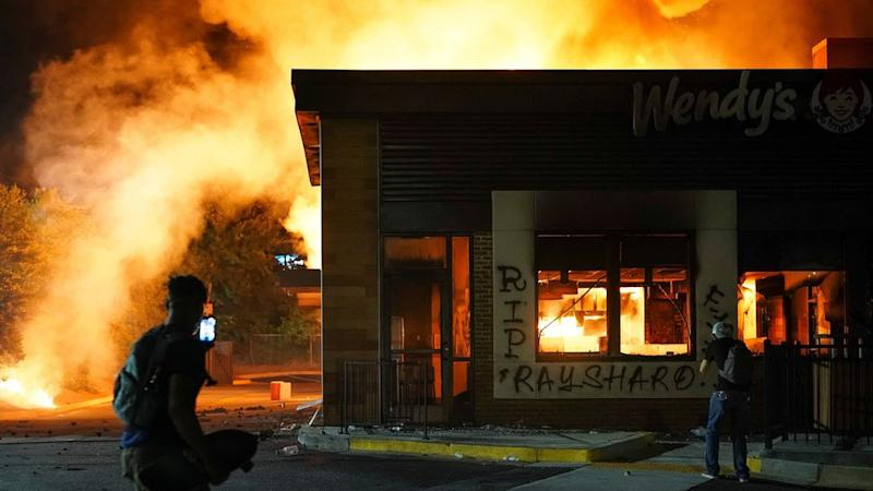 The Wendy's restaurant in Atlanta on fire