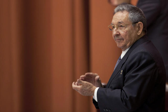 Cuba's President Raul Castro participates in the closure session of the National Assembly in Havana, Cuba, Sunday, Feb. 24, 2012. Castro accepted a new five-year term that will be, he said, his last as Cuba's president and tapped rising star Diaz-Canel, 52, as vice-president and first in the line of succession. (AP Photo/Franklin Reyes)