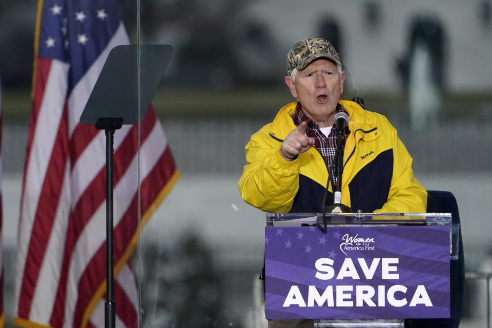 "FILE - In this Jan. 6, 2021 file photo, Rep. Mo Brooks, R-Ark., speaks in Washington, at a rally in support of President Donald Trump called the ""Save America Rally."" Brooks, teasing the announcement of a possible run for U.S. Senate, has scheduled a campaign rally on Monday, March 22, 2021, where he will be joined by former President Donald Trump adviser Stephen Miller. (AP Photo/Jacquelyn Martin, File)"
