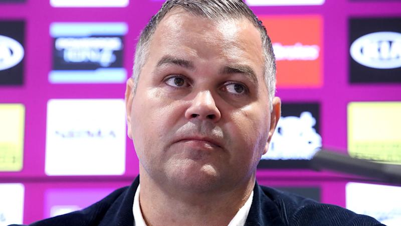 Anthony Seibold, pictured here speaking to the media after stepping down as Brisbane Broncos coach.