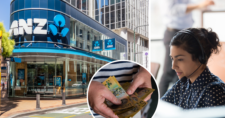 The exterior of an ANZ bank branch, a person holding $50 notes and a woman in a call centre wearing a headset
