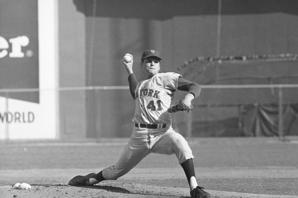 FILE - In this Oct. 4, 1969, file photo, New York Mets pitcher Tom Seaver throws against the Atlanta Braves in a National League playoff game in Atlanta. Fifty years after their improbable World Series championship, the New York Mets have climbed from near the bottom of the National League standings all the way into the playoff race. New York begins a pivotal series Tuesday night, Aug. 27, 2019, against the Chicago Cubs. (AP Photo/File)