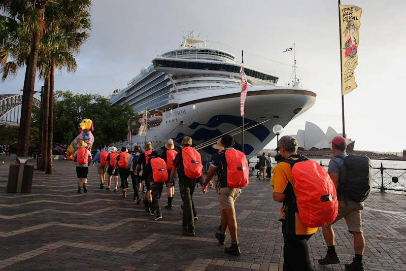 SYDNEY, AUSTRALIA - FEBRUARY 08: The Ruby Princess docks at the Overseas Passenger Terminal on February 08, 2020 in Sydney, Australia. Authorities around the world are imposing travel bans and extra health screening measures to try and contain the spread of the coronavirus. (Photo by Lisa Maree Williams/Getty Images)