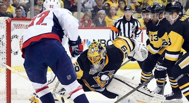"<a class=""link rapid-noclick-resp"" href=""/nhl/teams/pit/"" data-ylk=""slk:Pittsburgh Penguins"">Pittsburgh Penguins</a> goalie <a class=""link rapid-noclick-resp"" href=""/nhl/players/3341/"" data-ylk=""slk:Marc-Andre Fleury"">Marc-Andre Fleury</a> (29) makes a save against <a class=""link rapid-noclick-resp"" href=""/nhl/teams/was/"" data-ylk=""slk:Washington Capitals"">Washington Capitals</a> center <a class=""link rapid-noclick-resp"" href=""/nhl/players/4986/"" data-ylk=""slk:Evgeny Kuznetsov"">Evgeny Kuznetsov</a> (92). (Charles LeClaire-USA TODAY Sports)"