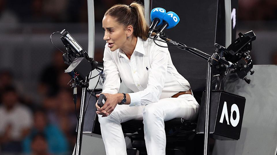 Marijana Veljovic, pictured here talking with Nick Kyrgios at the Australian Open.