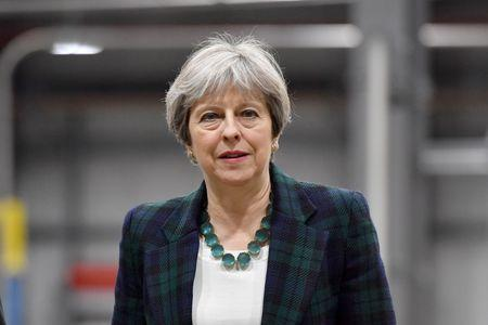Britain's Prime Minister Theresa May visits IKO Polymetric in Chesterfield,