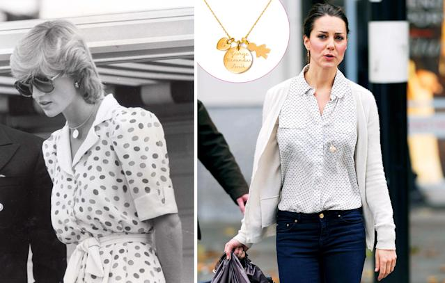 The duchess was inspired by Diana's golden disk necklace. (Photo: Rex/Pinterest)