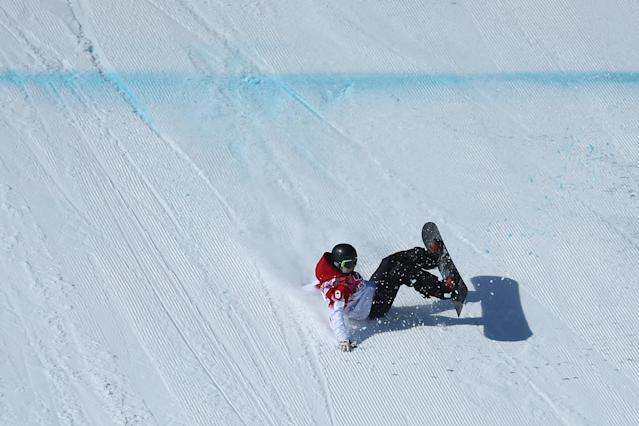 SOCHI, RUSSIA - FEBRUARY 08: Maxence Parrot of Canada crashes in his first run during the Snowboard Men's Slopestyle Final during day 1 of the Sochi 2014 Winter Olympics at Rosa Khutor Extreme Park on February 8, 2014 in Sochi, Russia. (Photo by Julian Finney/Getty Images)