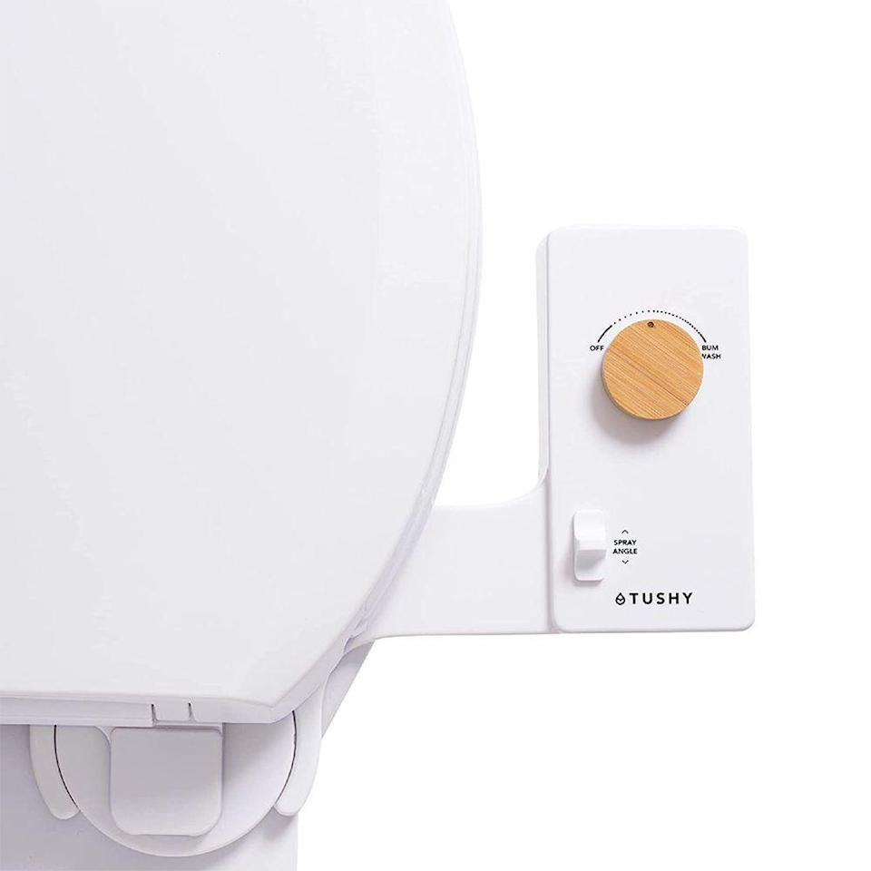"""<p><strong>Tushy</strong></p><p>Amazon</p><p><strong>$79.00</strong></p><p><a href=""""https://www.amazon.com/TUSHY-Classic-Bidet-Toilet-Attachment/dp/B07B8Y327H?ref_=ast_sto_dp&th=1&tag=syn-yahoo-20&ascsubtag=%5Bartid%7C2089.g.376%5Bsrc%7Cyahoo-us"""" rel=""""nofollow noopener"""" target=""""_blank"""" data-ylk=""""slk:Shop Now"""" class=""""link rapid-noclick-resp"""">Shop Now</a></p><p>It may seem strange to opt for a bidet as a gift, but let's be real: It adds a bit of spa-like luxury to any bathroom. Trust us, <a href=""""https://www.bestproducts.com/lifestyle/a32676716/the-tushy-bidet-attachment-review/"""" rel=""""nofollow noopener"""" target=""""_blank"""" data-ylk=""""slk:we've tried it."""" class=""""link rapid-noclick-resp"""">we've tried it.</a> This option by Tushy has pressure and angle control, so it's bound to be <em>just right</em> for whomever you gift it to.</p>"""