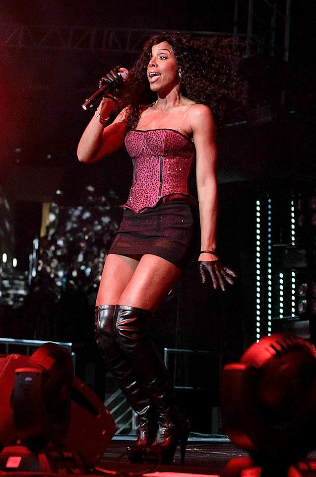 "Former Destiny's Child crooner Kelly Rowland donned a ""Lady Marmalade""-inspired look while previewing tracks from her upcoming album. Noel Vasquez/<a href=""http://www.wireimage.com"" target=""new"">WireImage.com</a> - May 15, 2010"