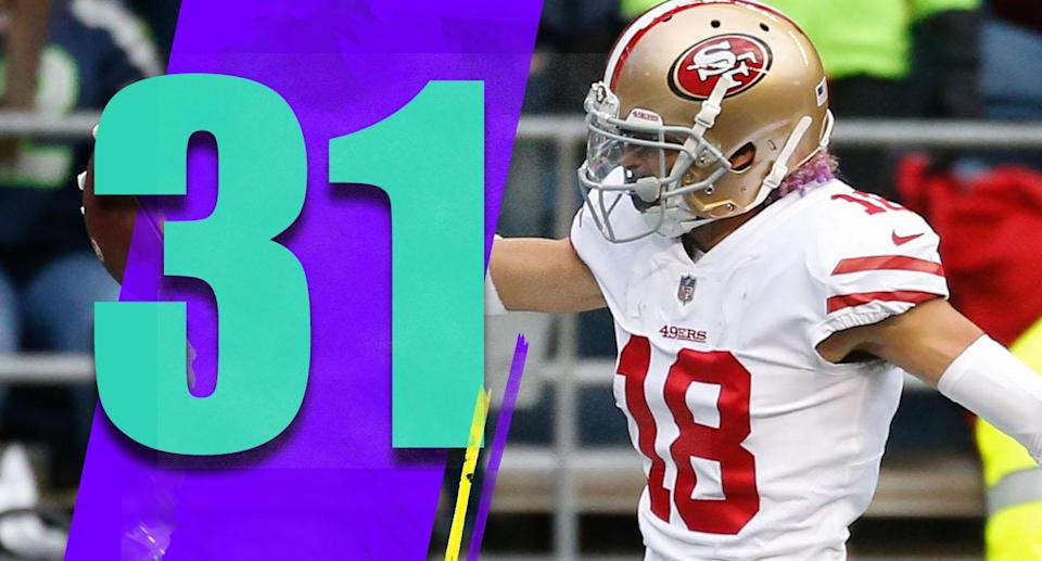 <p>Rookie Dante Pettis' 129-yard, two-touchdown day was a nice highlight. Pettis has played well with Pierre Garcon and Marquise Goodwin out of the lineup. He was a second-round pick, and it's nice to see him paying off. (Dante Pettis) </p>