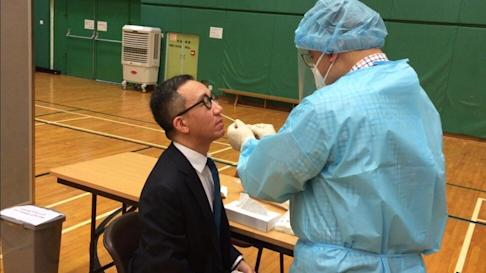 Professor Gabriel Leung, from the University of Hong Kong, takes the test. Photo: Handout