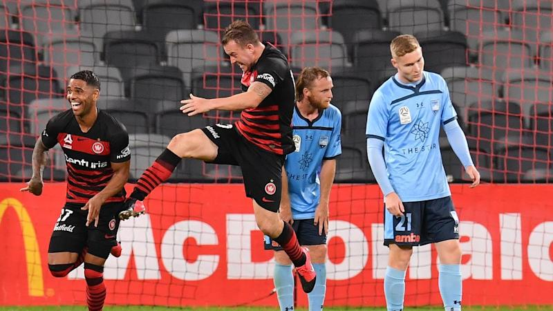 Kwame Yeboah (L) has salvaged a 1-1 draw for Western Sydney in the A-League derby with Sydney FC