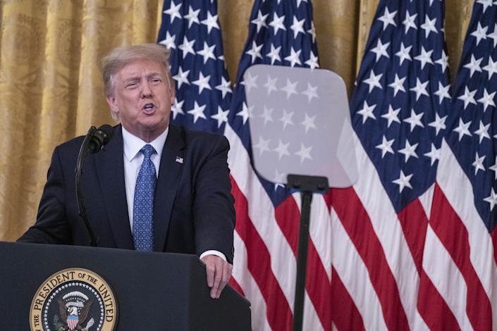U.S. President Donald Trump speaks during an event on combatting violent crime in American cities in the East Room of the White House in Washington, D.C., U.S., on Wednesday, July 22, 2020. (Sarah Silbiger/UPI/Bloomberg via Getty Images)
