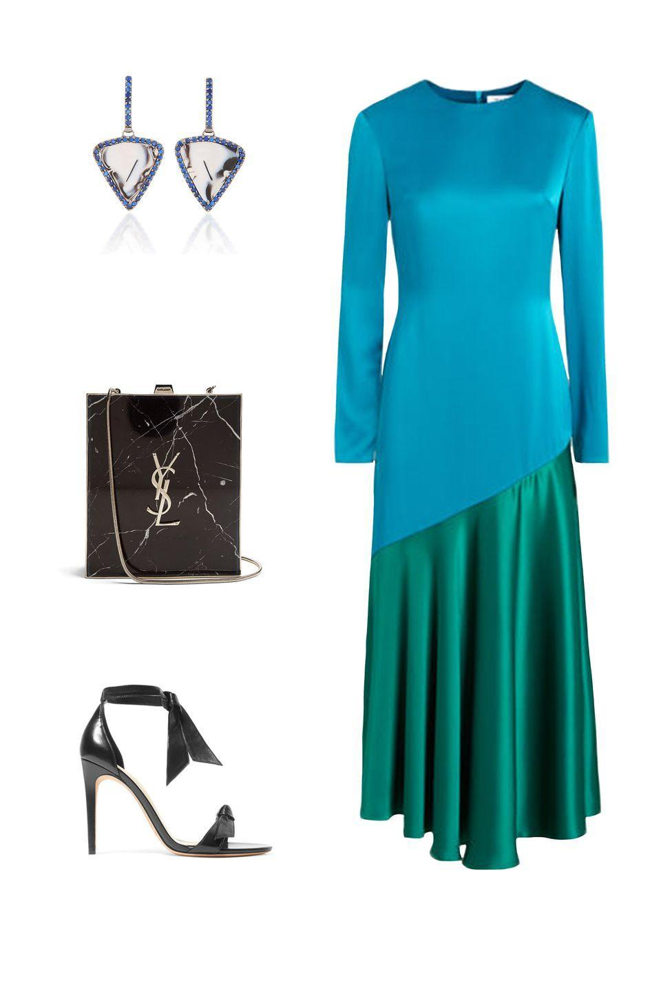 """<p>For city weddings, sleek color-blocking paired with modern metallics and soft, flowing fabrics are the perfect combination of bohemian and badass.</p><p><em><strong>Racil </strong>contrasting midi dress, $795, <a rel=""""nofollow noopener"""" href=""""https://www.themodist.com/en/designers/designer-a-z/racil/greta-contrasting-midi-dress/262781115.html?cgid=RAC&dwvar_262781115_color=1115&wgu=13217_1289215_15338992423427_c2bbdb0720&wgexpiry=1541675242&utm_source=ShopBAZAAR&utm_medium=affiliate&utm_campaign=1289215"""" target=""""_blank"""" data-ylk=""""slk:shopBAZAAR.com"""" class=""""link rapid-noclick-resp"""">shopBAZAAR.com</a>; <strong>Alexandre Birman</strong> sandals, $595, <a rel=""""nofollow noopener"""" href=""""https://www.net-a-porter.com/us/en/product/1063438/Alexandre_Birman/clarita-bow-embellished-leather-sandals"""" target=""""_blank"""" data-ylk=""""slk:netaporter.com"""" class=""""link rapid-noclick-resp"""">netaporter.com</a>;<strong> Saint Laurent</strong> box clutch, $3,550, <a rel=""""nofollow noopener"""" href=""""https://www.matchesfashion.com/us/products/Saint-Laurent-Tuxedo-box-clutch--1186293"""" target=""""_blank"""" data-ylk=""""slk:matchesfashion.com"""" class=""""link rapid-noclick-resp"""">matchesfashion.com</a>; <strong>Kimberly McDonald </strong>earrings, $7,975, <a rel=""""nofollow noopener"""" href=""""https://www.modaoperandi.com/kimberly-mcdonald-r19/one-of-a-kind-zebra-opal-triangle-drops-with-sapphires-set-in-18k-white-gold?size=OS"""" target=""""_blank"""" data-ylk=""""slk:modaoperandi.com"""" class=""""link rapid-noclick-resp"""">modaoperandi.com</a> .</em></p>"""