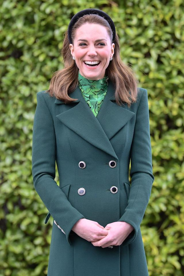 DUBLIN, IRELAND - MARCH 03: Catherine, Duchess of Cambridge is seen during a meeting with the President of Ireland at Áras an Uachtaráin on March 03, 2020 in Dublin, Ireland. The Duke and Duchess of Cambridge are undertaking an official visit to Ireland between Tuesday 3rd March and Thursday 5th March, at the request of the Foreign and Commonwealth Office. (Photo by Samir Hussein/WireImage)
