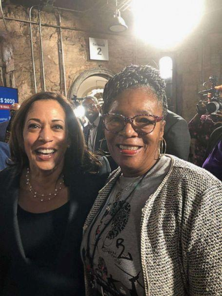 PHOTO: Marilynn B. Winn, co-founder and executive director of Women on the Rise in Georgia, poses alongside then-Senator Kamala Harris in Philadelphia in October of 2019. (Courtesy Marilynn B. Winn)