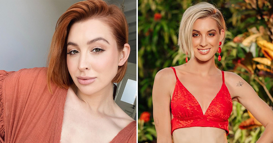 Side by side of Alex Nation with red hair and on Bachelor In Paradise.