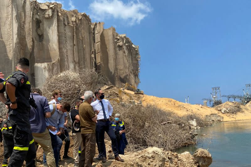 German Foreign Minister Heiko Maas views the damage at the site of a massive explosion at Beirut port