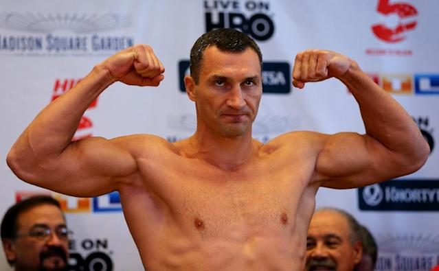 Wladimir Klitschko was due to meet Fury in Dusseldorf on October 24 for the WBA, WBO and IBF titles, but has pulled out after he tore a tendon in his left calf while training on Thursday (AFP Photo/Elsa)