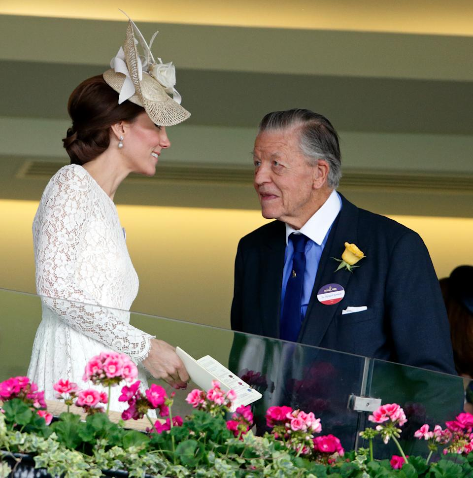 ASCOT, UNITED KINGDOM - JUNE 15: (EMBARGOED FOR PUBLICATION IN UK NEWSPAPERS UNTIL 48 HOURS AFTER CREATE DATE AND TIME) Catherine, Duchess of Cambridge and Sir Michael Oswald (National Hunt Racing Adviser to Queen Elizabeth II) watch the racing from The Royal Box as they attend day 2 of Royal Ascot at Ascot Racecourse on June 15, 2016 in Ascot, England. (Photo by Max Mumby/Indigo/Getty Images)