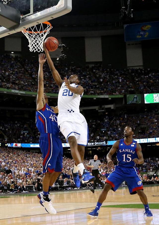 Doron Lamb #20 of the Kentucky Wildcats goes up for a shot against Kevin Young #40 of the Kansas Jayhawks in the first half in the National Championship Game of the 2012 NCAA Division I Men's Basketball Tournament at the Mercedes-Benz Superdome on April 2, 2012 in New Orleans, Louisiana. (Photo by Ronald Martinez/Getty Images)