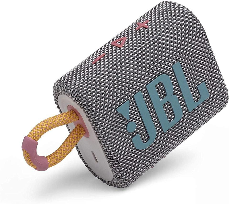 <p>The dust-proof, waterproof <span>JBL Go 3: Portable Speaker</span> ($40) can fit into your pocket or as a keychain on any bike, backpack, or water bottle. Even though it's tiny, it packs a powerful sound with punchy deep bass.</p>