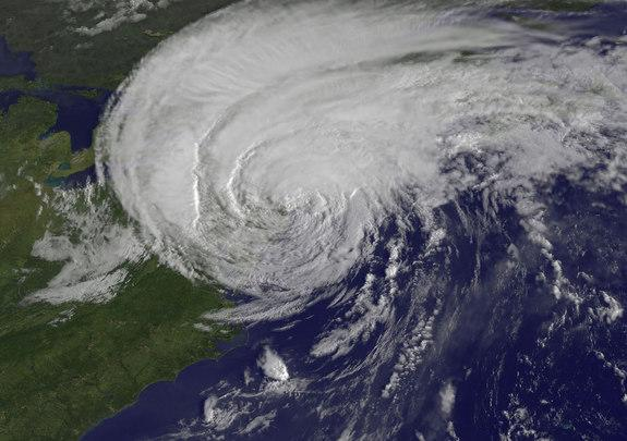 The GOES-13 satellite captured this stunning visible image of Hurricane Irene just before it made landfall in New York City in 2011.