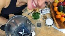 """<p><a href=""""https://kellyleveque.com/"""" rel=""""nofollow noopener"""" target=""""_blank"""" data-ylk=""""slk:Kelly LeVeque"""" class=""""link rapid-noclick-resp"""">Kelly LeVeque</a>'s Fab Four smoothie is something of a celeb staple. LeVeque, a nutritionist to the stars (including Garner), swears by the blended drink to keep you full and energised for hours after drinking. </p><p><a href=""""https://www.womenshealthmag.com/uk/food/a37316454/jennifer-garner-breakfast-smoothie-recipe/"""" rel=""""nofollow noopener"""" target=""""_blank"""" data-ylk=""""slk:Jennifer shared her version"""" class=""""link rapid-noclick-resp"""">Jennifer shared her version</a> of LeVeque's 'Be Well Smoothie' to her Instagram and it includes loads of healthy fats, protein, fibre and greens (the four pillars of LeVeque's Fab Four formula). </p><p>""""I started with [LeVeque] a few months ago to get ready for #PEPPERMINTmovie and have had her smoothie every day for breakfast since,"""" Garner captioned the video, grinning up as she added things to her <a href=""""https://www.womenshealthmag.com/uk/food/healthy-eating/g36800515/best-jug-blenders/"""" rel=""""nofollow noopener"""" target=""""_blank"""" data-ylk=""""slk:blender"""" class=""""link rapid-noclick-resp"""">blender</a>. </p><p><a href=""""https://www.instagram.com/p/Bdl0lyvD62l/"""" rel=""""nofollow noopener"""" target=""""_blank"""" data-ylk=""""slk:See the original post on Instagram"""" class=""""link rapid-noclick-resp"""">See the original post on Instagram</a></p>"""