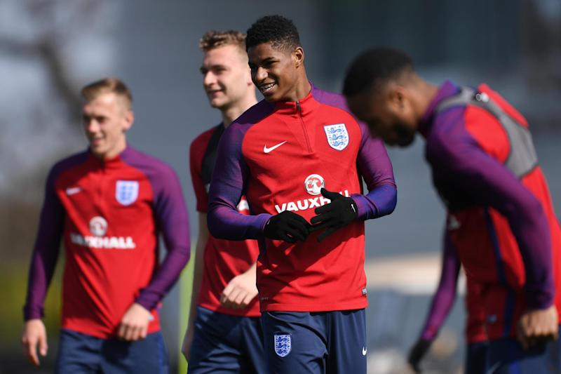 Rashford trains with England's senior squad ahead of their World Cup qualifier against Lithuania: Getty Images