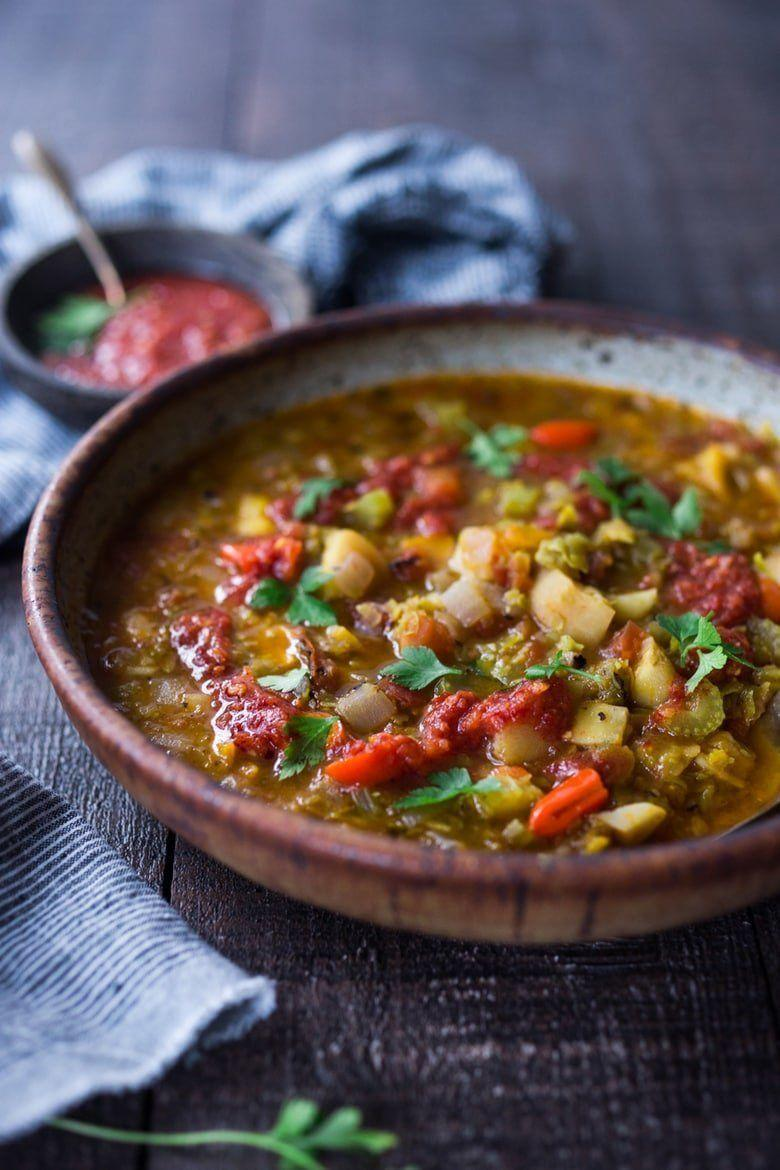"<strong>Get the <a href=""https://www.feastingathome.com/instant-pot-split-pea-soup-with-harissa/"" rel=""nofollow noopener"" target=""_blank"" data-ylk=""slk:Instant Pot Split Pea Soup with Harissa"" class=""link rapid-noclick-resp"">Instant Pot Split Pea Soup with Harissa</a> recipe from Feasting At Home.</strong>"